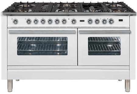"""Ilve Professional Plus UPW150FDMPBLP Freestanding Dual Fuel Range White, UPW150FDMPB 60"""" Professional Plus Rabge"""