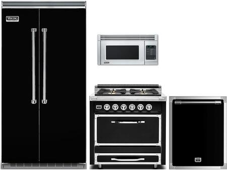 Viking 977825 4 Piece Black Kitchen Liances Package