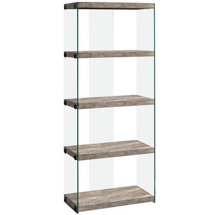333540 24″ Bookcase with 4 Fixed Clear Tempered Glass Shelves  Clear Glass Side Panels  Laminated and Particle Board Construction in Taupe