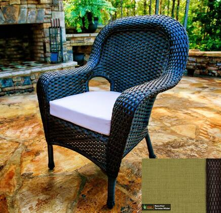 Sea Pines Collection LEX-DC-T-KIWI Dining Chair in Tortoise Wicker and Rave Kiwi Fabric