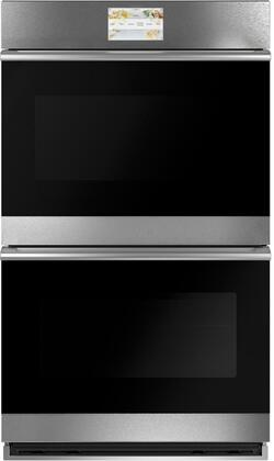 Cafe  CTD70DM2NS5 Double Wall Oven Platinum, Front View