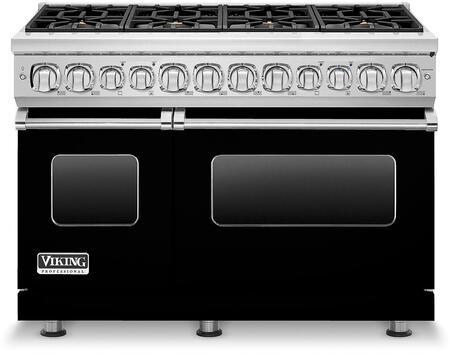 Viking 7 Series VDR7488BBK Freestanding Dual Fuel Range Black, VDR7488BBK Front view