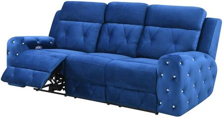 U8311-BLUE VELVET-PRS Power Reclining Sofa 87″ with Posh Crystal Tufted Arms and Leek Brushed Nickel Backlit Power Button with Built in USB Charging