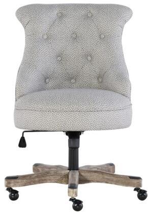 Linon Sinclair 178403LTGRY01U Office Chair, 178403LTGRY01U Sinclair Office Chair Light Gray    Gray Wash Wood Base Lifestyle