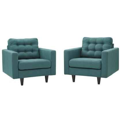 Empress Collection EEI-1283-TEA Set of 2 Armchairs with Solid Wooden Tapered Legs  Deeply Tufted Buttons and Fabric Upholstery in Teal