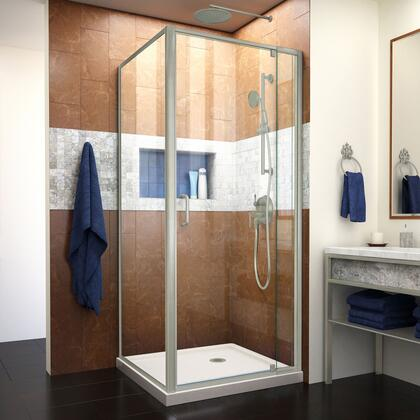 DL-6714-22-04CL Flex 32″ D x 32″ W x 74 3/4″ H Semi-Frameless Pivot Shower Enclosure in Brushed Nickel and Biscuit Base