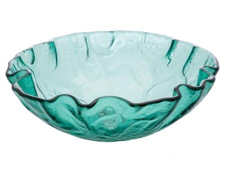 EB_GS53 17″ Free-Form Wave Vessel Sink with 1 Year Limited Warranty  Round Shape and Tempered Glass Material in Green