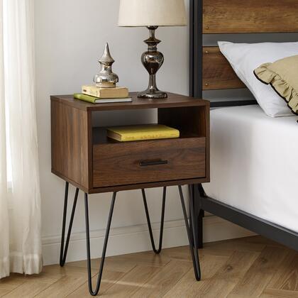 AF18CRFSTDW 18″ Modern Single Drawer Hairpin Leg Side Table – Dark
