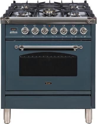 Ilve Nostalgie UPN76DMPGUXLP Freestanding Dual Fuel Range Blue Grey, Blue Grey Dual Fuel Range