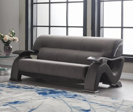 U2033-GREY-S 76″ Contemporary Velvet Sofa with S-Shaped Side Panels  Plywood Frame and Split Back Cushion in