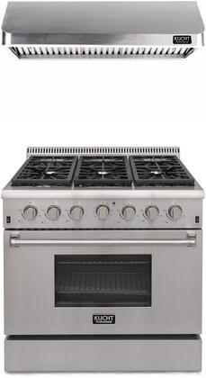 "Professional Series 2 Piece Kitchen Appliances Package with KRD366FLP 36"" Liquid Propane Gas Dual Fuel Range and KRH3602U 36"" Push Button Control"