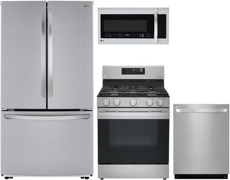Lg 4 Piece Kitchen Appliances Package With Lfcc22426s 36 Inch French Door Refrigerator Lrg3061st 30 Inch Gas Range Lmvm2033st 30 Inch Over The Range Microwave And Ldp6797st 24 Inch Built In Fully