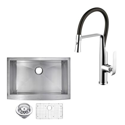 CF511-AS-3322A 33″ X 22″ Zero Radius Single Bowl Stainless Steel Hand Made Apron Front Kitchen Sink With Drain  Strainer  Bottom Grid  And Single