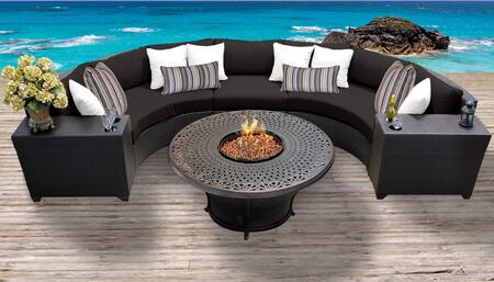 Barbados Collection BARBADOS-06i-BLACK Barbados 6-Piece Patio Set 06i with 1 Armless Chair   2 Cup Table   2 Curved Armless Chair   1 Charleston