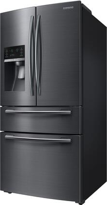 Samsung RF25HMEDBSG French Door Refrigerator Black Stainless Steel, Side View