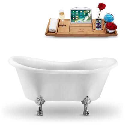 N1020CH 62″ Clawfoot Tub and Tray With External Drain in