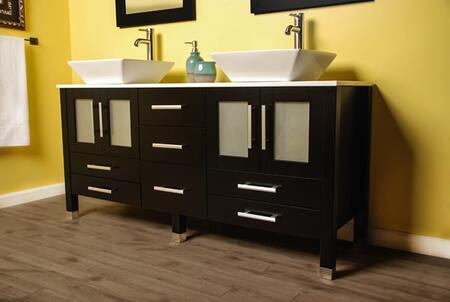 8119XLF-BN 71″ Solid Wood bathroom Vanity is compete with a white Porcelain Counter Top and two matching white vessel sinks  two mirrors and Brushed