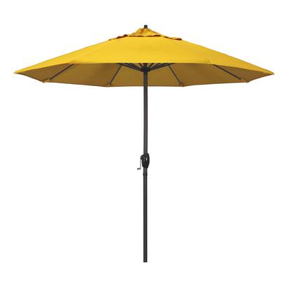 Casa Collection ATA908117-5457 9′ Patio Umbrella With Bronze Aluminum Pole Aluminum Ribs Auto Tilt Crank Lift With Sunbrella 1A Sunflower Yellow