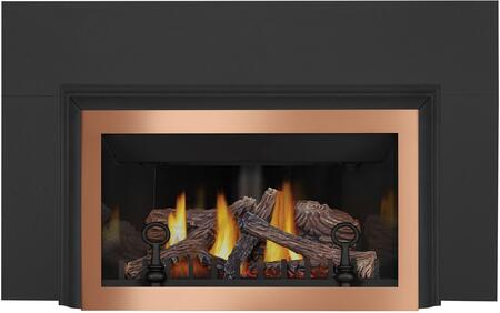 Napoleon Inspiration ZC GDIZCNSB Fireplace Black, 3 Sided Aluminum Extrusion, Faceplate Copper, 3 Sided Backer, Porcelain Reflective Radiant Panels, Andirons