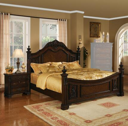Kensington Collection KE18KN 2-Piece Bedroom Set with King Bed and Nightstand in Distressed