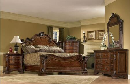 Old World Collection 1431562606K 5 Piece Bedroom Set with King Size Bed  Dresser  Mirror  Chest and Nightstand in Cherry