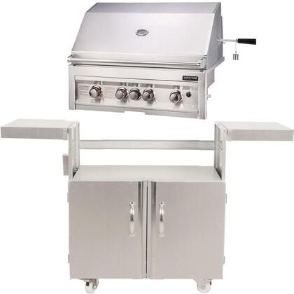 SUN4B-NG 34″ Sunstone Series Freestanding Natural Gas Grill with 4 Stainless Steel Burners  Wind Guard  Drip Tray  Warming Rack  and Smoker Box  in