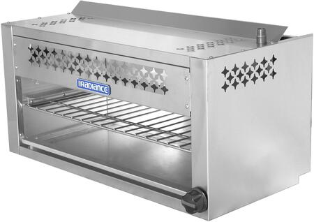 TACM-36 36″ Cheese Melter with 35 000 BTU Output  Chrome Plated Heavy Duty Rack  Infra-Red Burner and Adjustable Gas Valve in Stainless