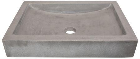 EB_N008DG 22-in. Shallow Wave Concrete Rectangular Vessel Sink – Dark Gray with pop-up or Grid Drain in Dark