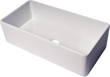 ABF3618-W ALFI 36″ White Thin Wall Single Bowl Smooth Apron Fireclay Kitchen Farm Sink in