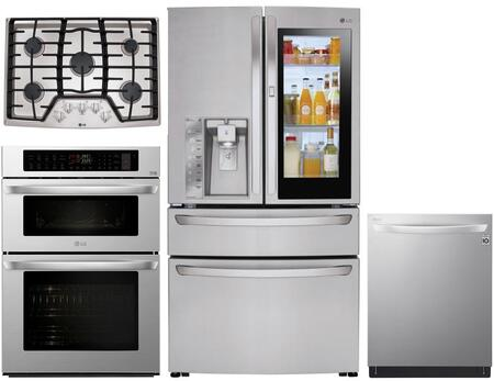 4 Piece Kitchen Appliances Package with LMXC23796S 36″ French Door Refrigerator  LWC3063ST 30″ Wall Oven/Microwave Combo  LCG3011ST 30″ Gas Cooktop