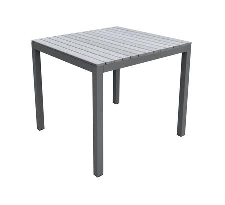 LCBIDIGR Armen Living Bistro Outdoor Patio Dining Table in Grey Powder Coated Finish with Grey Wood