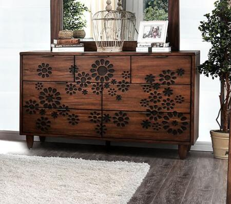 Amarantha Collection CM7362D Dresser With Burned Wood Design And Round Tapered Feet In Dark