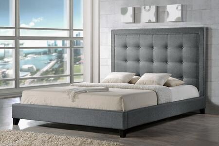 Baxton Studio Hirst BBT6377GREYQUEEN Bed Gray, BBT6377 Grey King