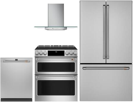 4 Piece Kitchen Appliances Package with CWE23SP2MS1 36″ French Door Refrigerator  CHS950P2MS1 30″ Slide-in Electric Range  CVW73012MSS 30″ Wall Mount