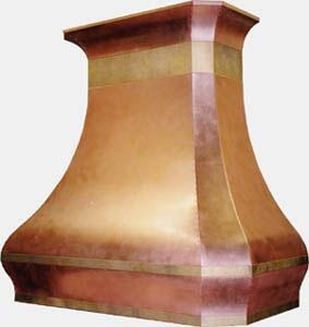 RangeCraft  CMROCOCO Island Mount Range Hood Custom Color, Shown in Antique Copper with Antique Brass bands