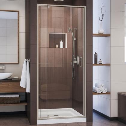 DL-6215C-04CL Flex 32″ D x 32″ W x 74 3/4″ H Semi-Frameless Pivot Shower Door in Brushed Nickel and Center Drain White