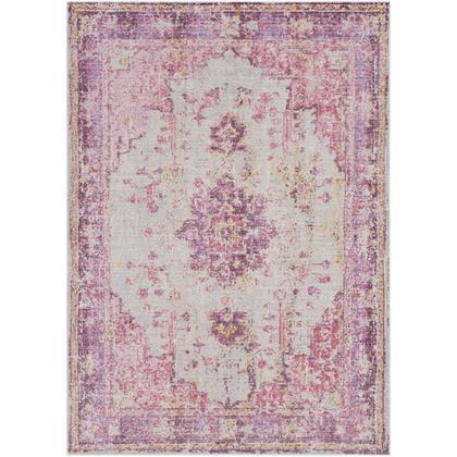 "Antioch AIC-2305 6'7″ x 8'10"" Rectangle Traditional Rugs in Bright Pink  Light Gray  Lavender  Dark Purple  Medium Gray  Bright Yellow"