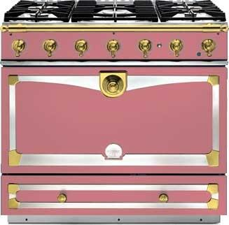 La Cornue CornuFe C9TF Freestanding Dual Fuel Range Pink, Liberte with Brass Trim