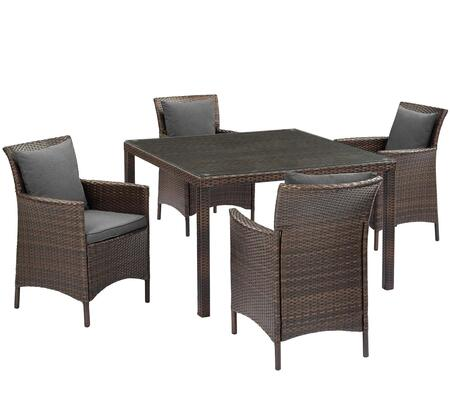 Conduit Collection EEI-3893-BRN-CHA-SET  5 Piece Outdoor Patio Wicker Rattan Set with Powder-Coated Aluminum Frame  Synthetic PE Rattan Weave and