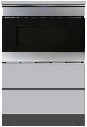 SMD2480CS 24″ Microwave Drawer with SKMD24U0ES 24″ Under the Counter Pedestal in Stainless