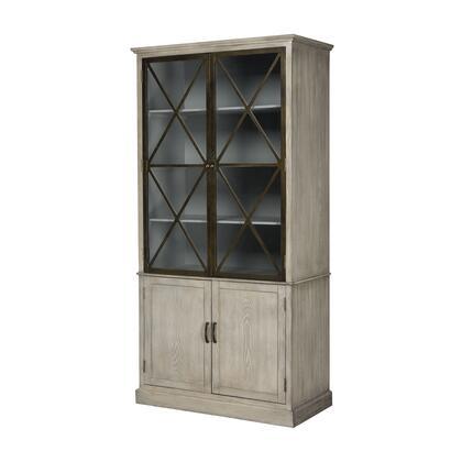 17255 Tyrone Cabinet  in Ashford Off-white  Black Faux
