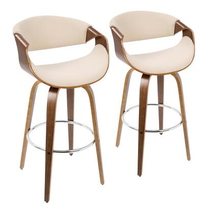 Curvo Collection B30-CRVNIRWLCR2 Set of 2 Bar Height Stool with Curved Bentwood Armrests  Mid-Century Modern Style  360-Degree Swivel Seat and Woven