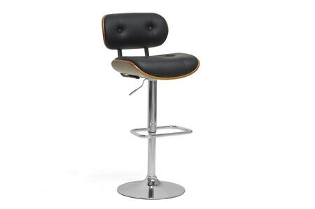 Wholesale Interiors SDM2228WALNUTBLACKBS Bar Stool, SDM2228 WalnutBlack BS