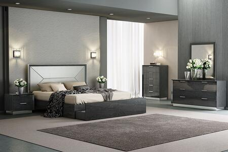 Navi Collection BK1354PGRY5SET 5 PC Bedroom Set with King Size Platform Bed  Dresser  Mirror  Chest and Nightstand in Grey
