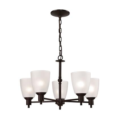 1355CH/10 Jackson 5-Light Chandelier in in Oil Rubbed Bronze with White