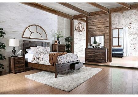 Furniture of America Hankinson CM7576KSBDMCN Bedroom Set Brown, Main Image