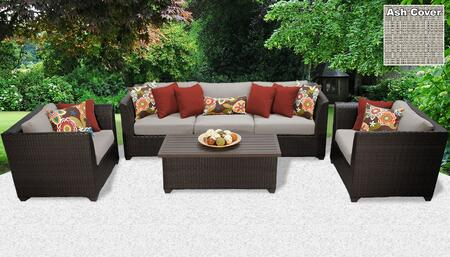 Barbados BARBADOS-06g-ASH 6-Piece Wicker Patio Set 06g with 2 Corner Chairs  1 Armless Chair  2 Club Chairs and 1 Coffee Table – Wheat and Ash