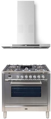 2 Piece Kitchen Appliances Package with UPW90FDMPI 36″ Dual Fuel Gas Range and COLLEGARE36 36″ Wall Mount Convertible Hood in Stainless