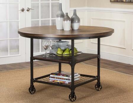 Sunset Trading Rustic Elm Industrial CRW307566 Dining Room Table Black, CR W3075 66