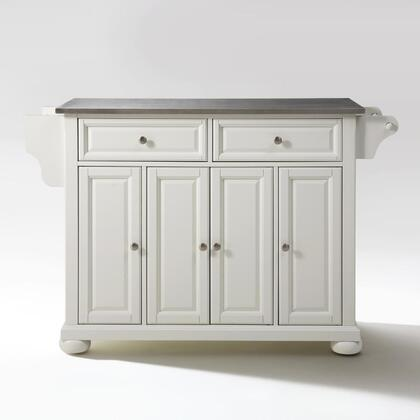 Alexandria Collection KF30002AWH Stainless Steel Top Island/Cart in White